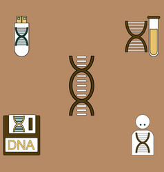 Collection of icons and human dna vector