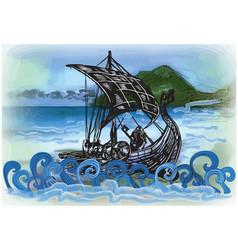Drekar boat - an hand drawn vector