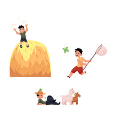 Flat children at countryside scenes set vector