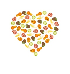fruits in heart vector image