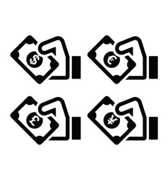 Hand with money icon - dollar euro yen pound vector image vector image
