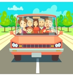 Happy family traveling by car driving on road vector
