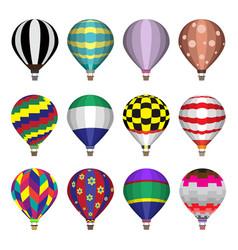 Hot air balloons flat icons vector