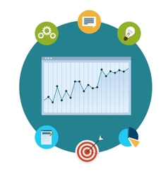 Icons of financial analytics charts and graphs vector image