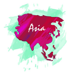 Isolated map of asia vector