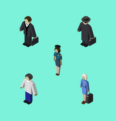 Isometric person set of male investor detective vector