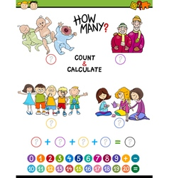 Mathematical game for preschoolers vector