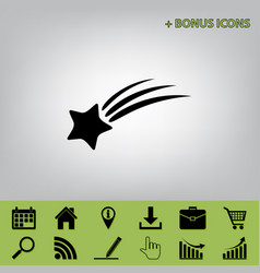 Meteor shower sign black icon at gray vector