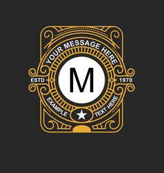modern emblem badge monogram template luxury vector image vector image