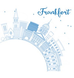 outline frankfort skyline with blue buildings and vector image vector image