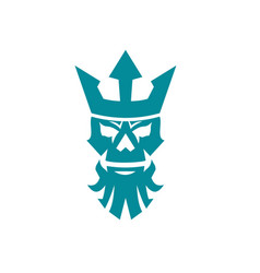 Poseidon skull wearing crown icon vector