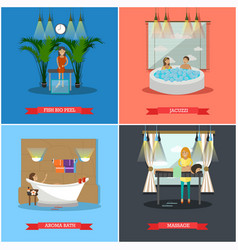 Set of spa therapy concept posters in flat vector