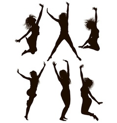 Silhouettes of girls jumping vector