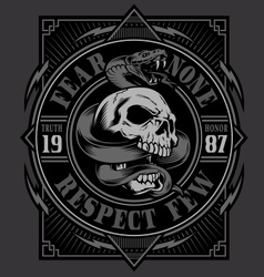 Skull with snake t-shirt design vector image