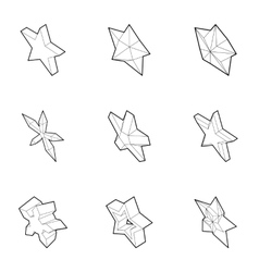 Star figure icons set outline style vector