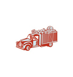 Vintage Pickup Truck Delivery Harvest Retro vector image vector image