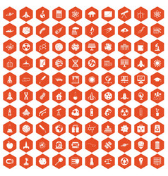 100 space icons hexagon orange vector