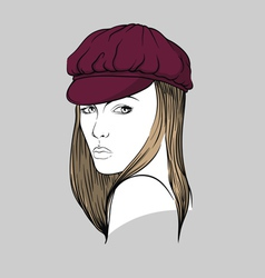 Woman with burgundy hat vector