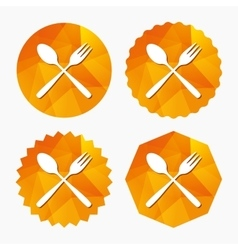 Eat sign icon dessert fork and teaspoon vector