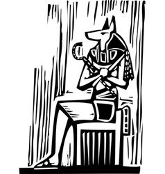 Egyptian Sitting Anubis vector image