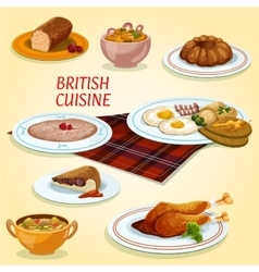 British cuisine dishes for breakfast and lunch vector