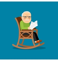 Eldery man on wheelchair vector