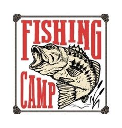 Fishing camp Hand drawn bass fish vector image