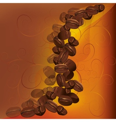 Coffee beans background with pattern vector
