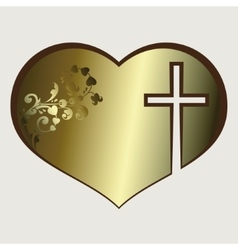 Heart with cross gold tone vector