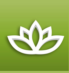lotus flower 3d icon on green gradient background vector image
