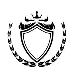 Decorative shield crown laurel heraldry victorian vector