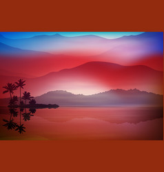 Purple-blue background with sea and palm trees vector
