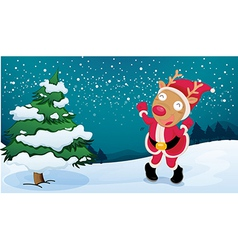 A deer wearing santas clothes vector