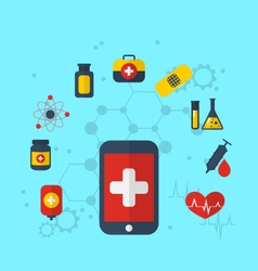 Smart phone with medical icons for web design vector