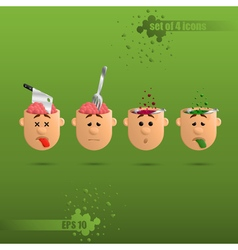 3D set of four brain emotions vector image vector image