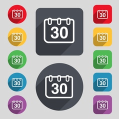 Calendar icon sign a set of 12 colored buttons and vector