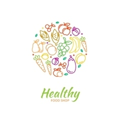 Healthy food store logo with fruit and vegetable vector