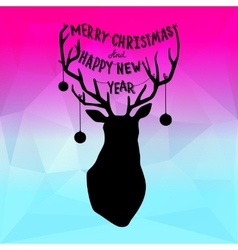 Square new year design with deer vector
