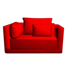 Leather red sofa with pillows isolated on white vector