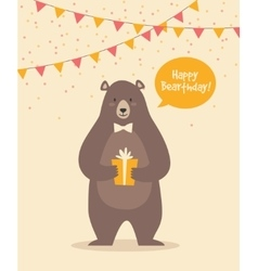 Cute funny birthday bear vector