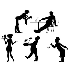 Silhouettes of people the restaurant business vector