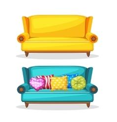 Sofa soft colorful homemade set 3 vector