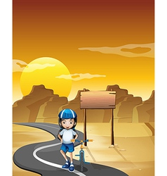 A girl and her bicycle at the road near the empty vector image vector image