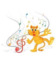 A tiger with musical notes vector