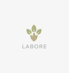 abstract shovel leaf logo design organic farm vector image vector image