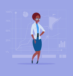 African american business woman over abstract vector