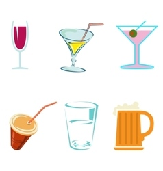 Alcohol drinks and cocktails in glasses vector image