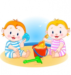 babies at the beach vector image vector image