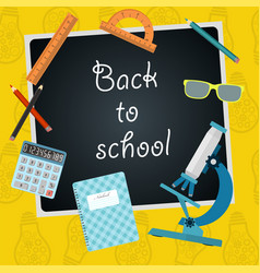 Back to school chalkboard with school supplies vector