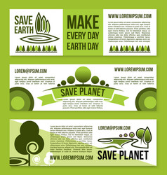 Banners for save earth and nature ecology vector